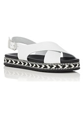Barneys New York Women's Crisscross-Strap Leather Espadrille Sandals