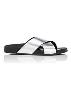 Barneys New York Women's Crisscross-Strap Metallic Leather Slide Sandals