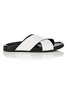 Barneys New York Women's Crisscross-Strap Spazzolato Leather Slide Sandals