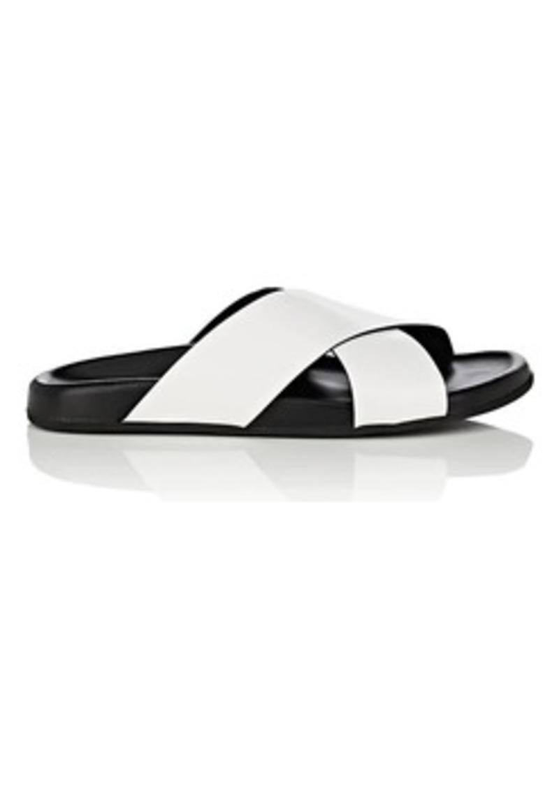 Barneys New York Women's Crisscross-Strap Spazzolato Leather Slide Sandals