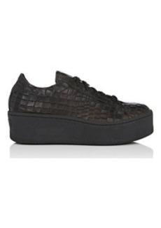 Barneys New York Women's Crocodile-Stamped Leather Platform Sneakers