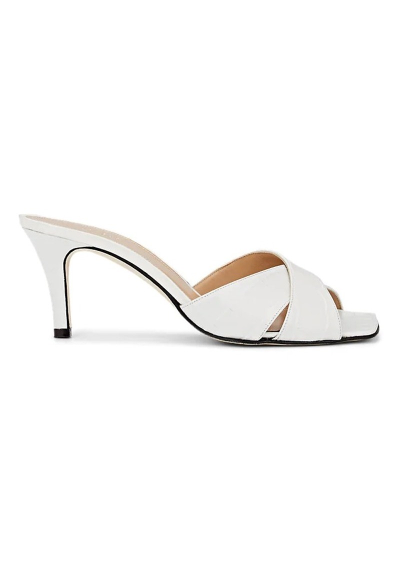 Barneys New York Women's Crocodile-Stamped Leather Sandals