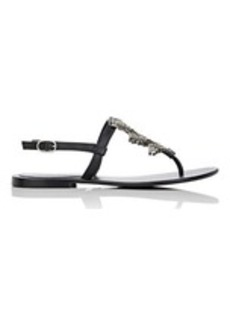 Barneys New York Women's Crystal-Embellished Leather T-Strap Sandals