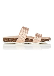 Barneys New York Women's Double-Band Metallic Leather Slide Sandals