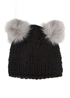 Barneys New York Women's Double Pom-Pom Knit Hat