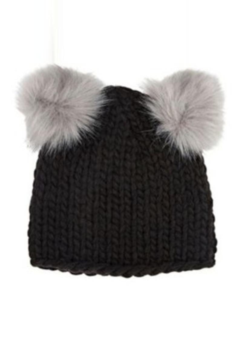 6f915ee2fc2 SALE! Barneys New York Barneys New York Women s Double Pom-Pom Knit Hat