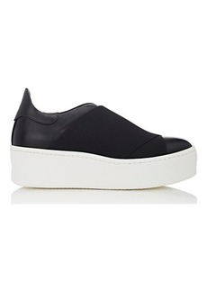 Barneys New York Women's Elastic-Detail Leather Platform Sneakers