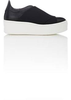 Barneys New York Women's Elastic-Detail Leather Platform Sneakers