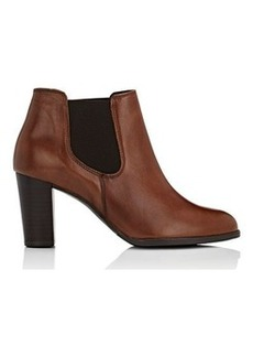 Barneys New York Women's Elastic-Inset Leather Ankle Boots