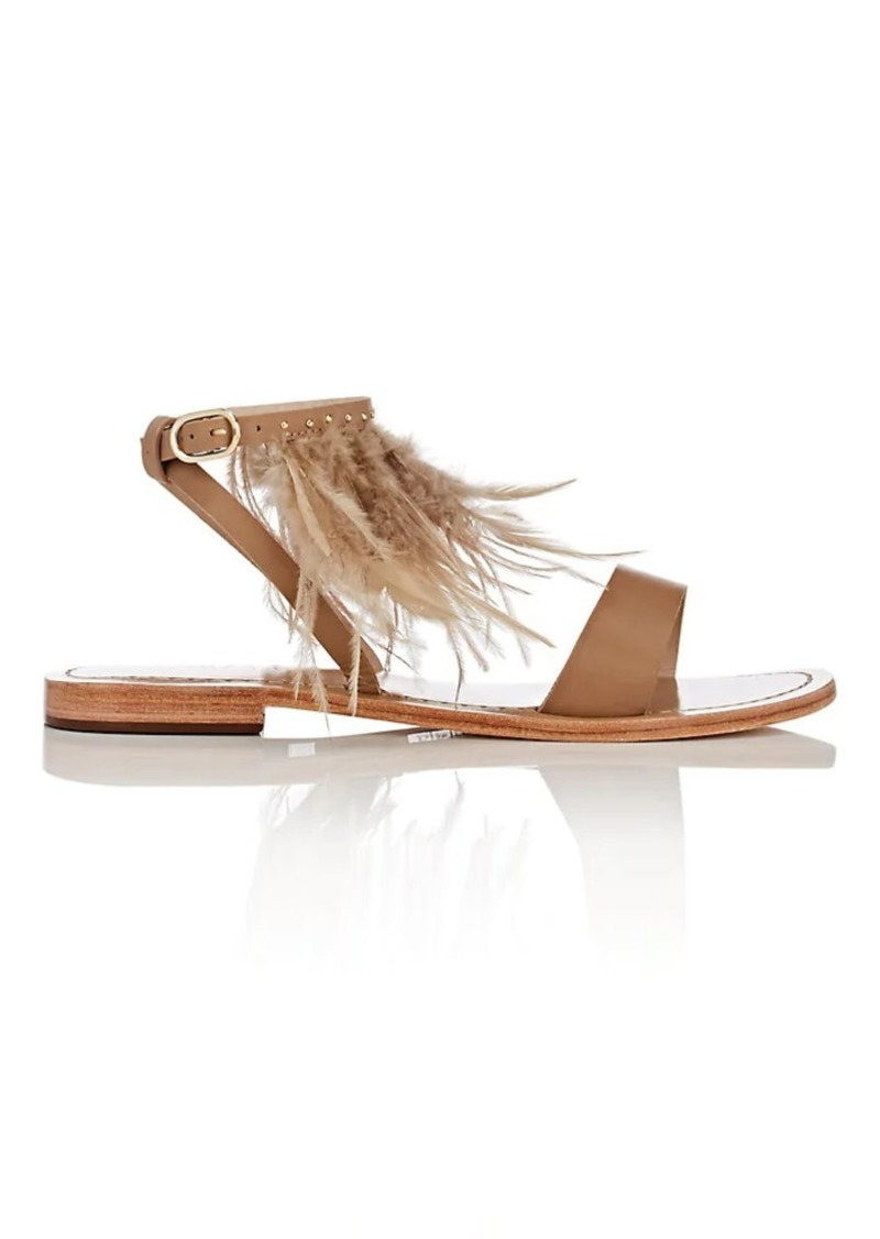 Barneys New York Women's Embellished Leather Ankle-Strap Sandals