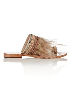 Barneys New York Women's Embellished Leather Slide Sandals
