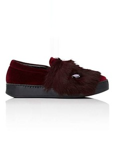 Barneys New York Women's Embellished Velvet & Fur Sneakers