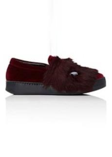 Barneys New York Women's Embellished Velvet & Fur Sneakers