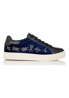 Barneys New York Women's Embellished Velvet & Leather Sneakers