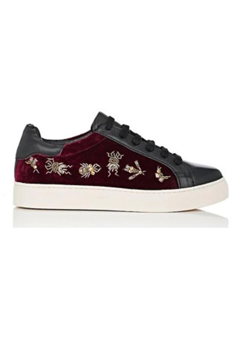 Barneys New York Women's Embellished Velvet & Leather Sneakers