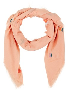 Barneys New York Women's Embroidered Cotton Voile Scarf - Peach