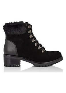 Barneys New York Women's Faux-Fur-Collar Suede Ankle Boots
