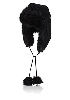 Barneys New York Women's Faux-Fur-Trimmed Knit Trapper Hat - Black