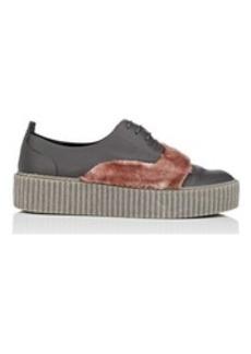 Barneys New York Women's Faux-Fur-Trimmed Leather Platform Sneakers