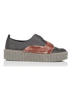 Barneys New York Women's Faux-Fur-Trimmed Leather Platform Sneakers