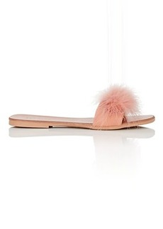 Barneys New York Women's Feather-Embellished Leather Slide Sandals