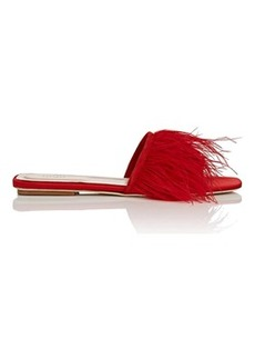 Barneys New York Women's Feather-Embellished Satin Slide Sandals