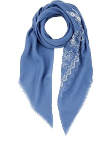 Barneys New York Women's Floral-Embroidered Scarf - Blue