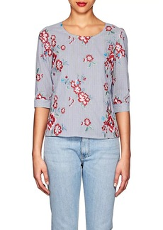 Barneys New York Women's Floral-Embroidered Striped Cotton-Blend Blouse