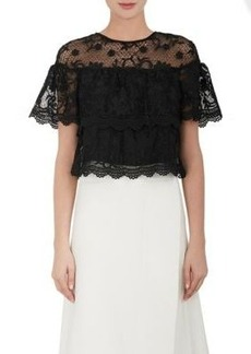 Barneys New York Women's Floral Lace Crop Top-Black Size M