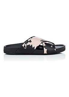 Barneys New York Women's Floral Leather Slide Sandals