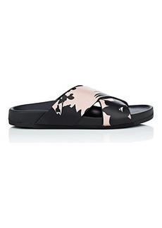 Barneys New York Women's Floral Leather Slide Sandals