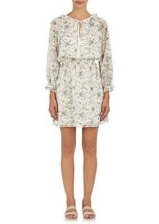 Barneys New York Women's Floral Plissé Chiffon Blouson Dress