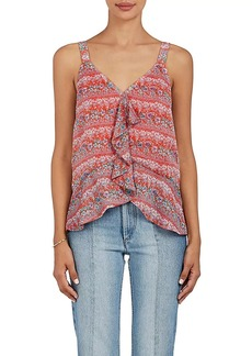 Barneys New York Women's Floral Plissé Chiffon Peplum Top
