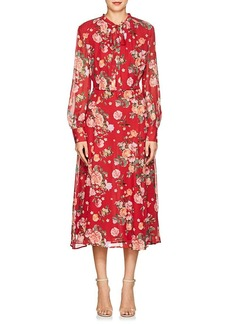 Barneys New York Women's Floral Silk Chiffon Tieneck Maxi Dress