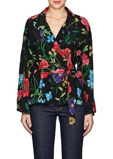 Barneys New York Women's Floral Silk Wrap Blouse
