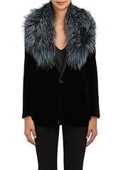 Barneys New York Women's Fox Fur Collar Scarf - Blue