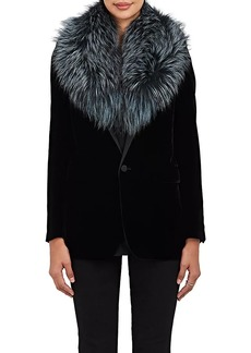 Barneys New York Women's Fox Fur Collar Scarf - Blue
