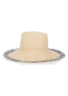 Barneys New York Women's Fringe-Trimmed Raffia Hat - Navy