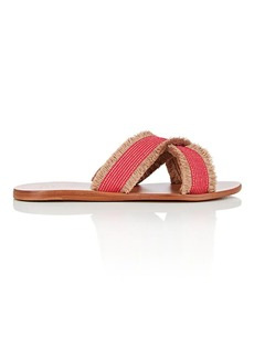 Barneys New York Women's Fringed Crisscross-Strap Slide Sandals