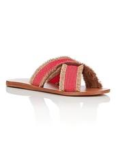 Barneys New York Women's Fringed Crisscross-Strap Slide Sandals