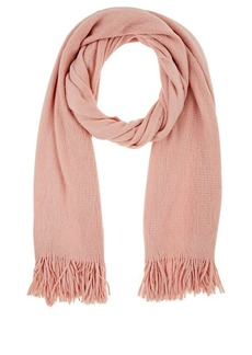 Barneys New York Women's Fringed Knit Scarf - Rose