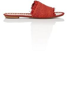 Barneys New York Women's Fringed Raffia Slide Sandals