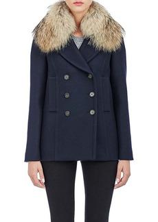 Barneys New York Women's Fur-Collar Double-Breasted Jacket