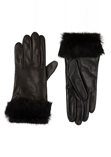 Barneys New York Women's Fur-Cuff Tech-Smart Leather Gloves