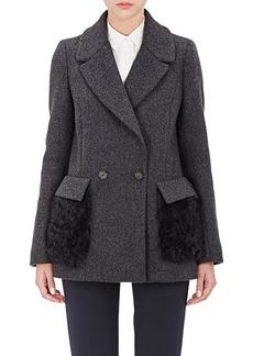 Barneys New York Women's Fur-Pocket Felt Peacoat
