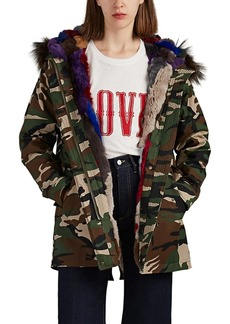 Barneys New York Women's Fur-Trimmed & Fur-Lined Camouflage Canvas Parka