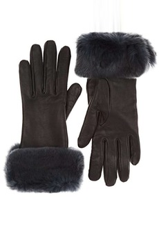Barneys New York Women's Fur-Trimmed Nappa Leather Gloves