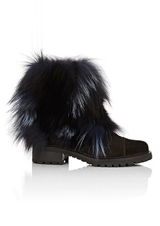 Barneys New York Women's Fur-Trimmed Suede Ankle Boots