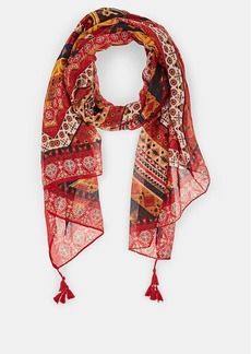 Barneys New York Women's Geometric-Print Scarf - Red Combo