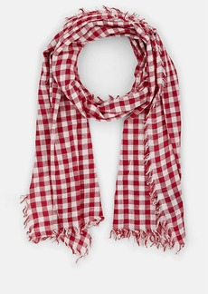 Barneys New York Women's Gingham Cotton Scarf - Brick And White